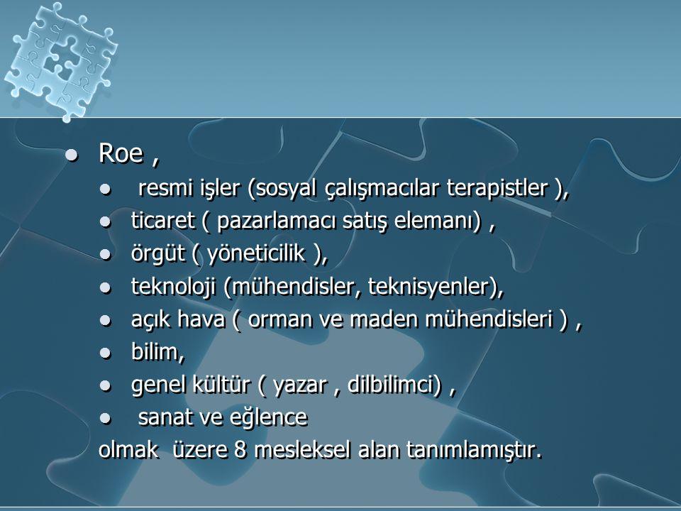 Roe , resmi işler (sosyal çalışmacılar terapistler ),
