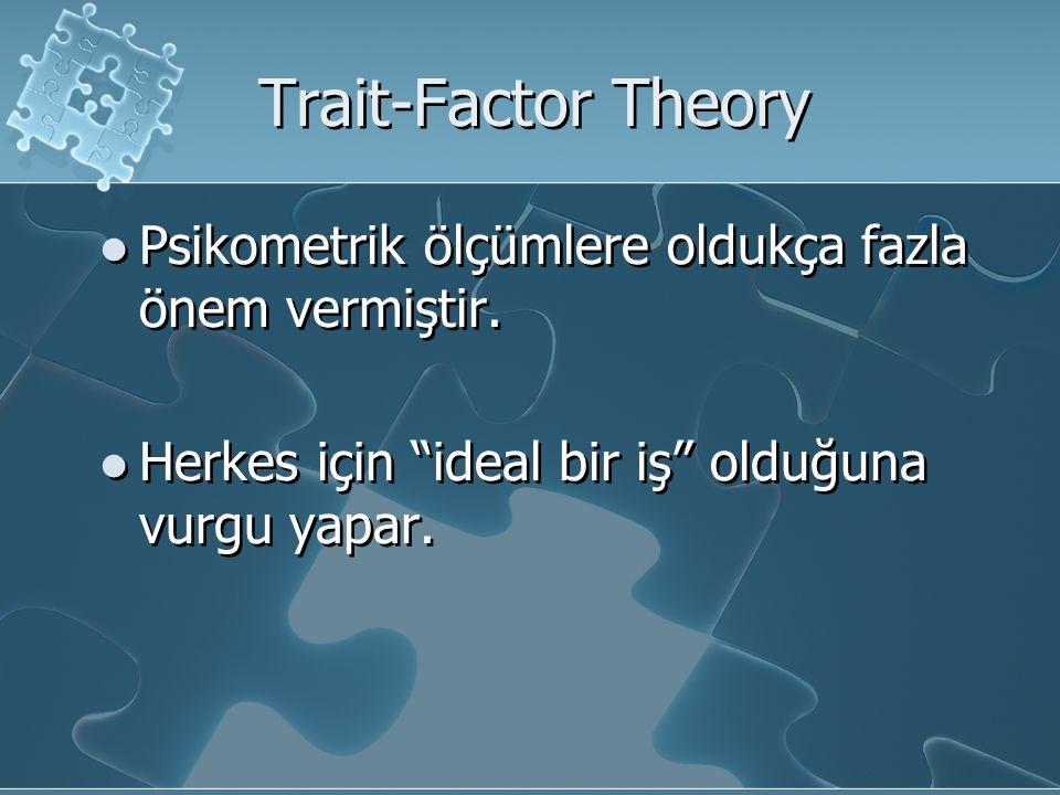 Trait-Factor Theory Psikometrik ölçümlere oldukça fazla önem vermiştir.