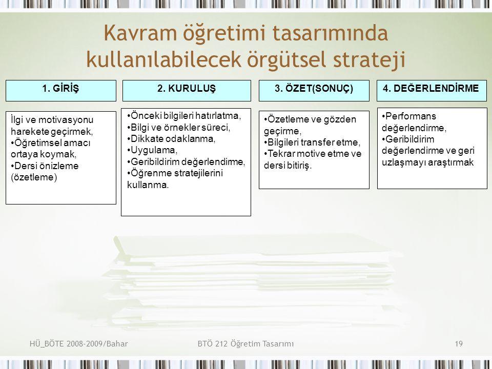 Kavram öğretimi tasarımında kullanılabilecek örgütsel strateji