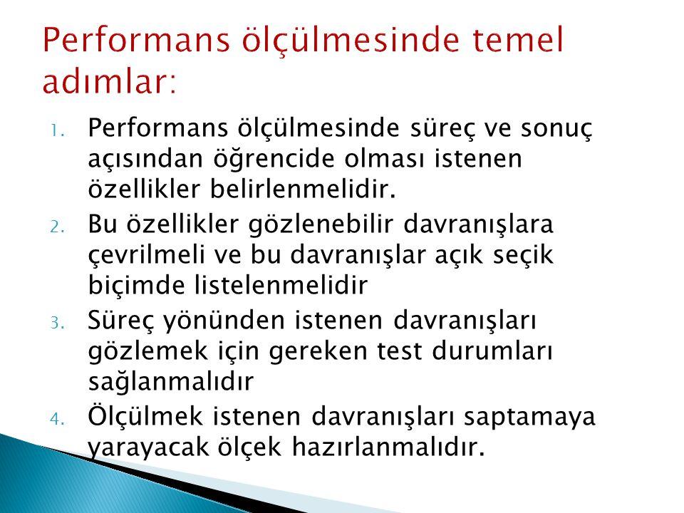 Performans ölçülmesinde temel adımlar: