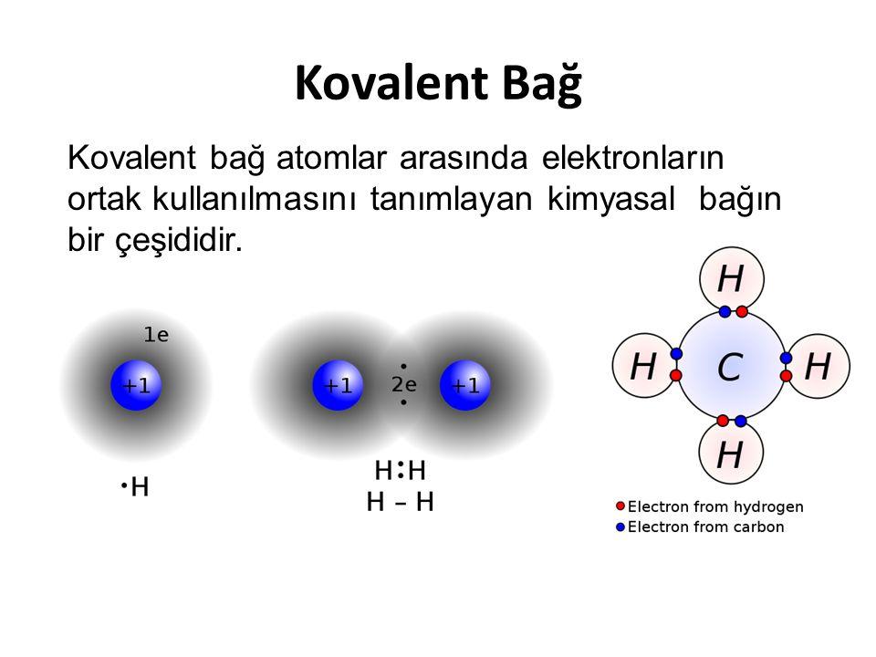 Kovalent Bağ Kovalent bağ atomlar arasında elektronların ortak kullanılmasını tanımlayan kimyasal bağın bir çeşididir.
