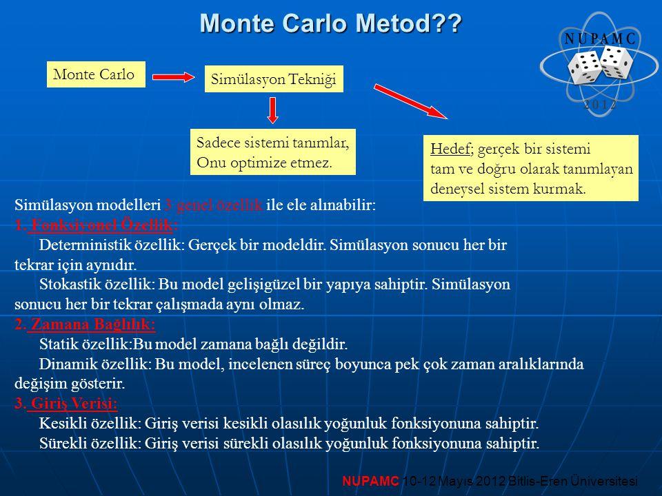 Monte Carlo Metod Monte Carlo Simülasyon Tekniği