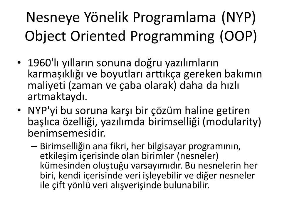Nesneye Yönelik Programlama (NYP) Object Oriented Programming (OOP)