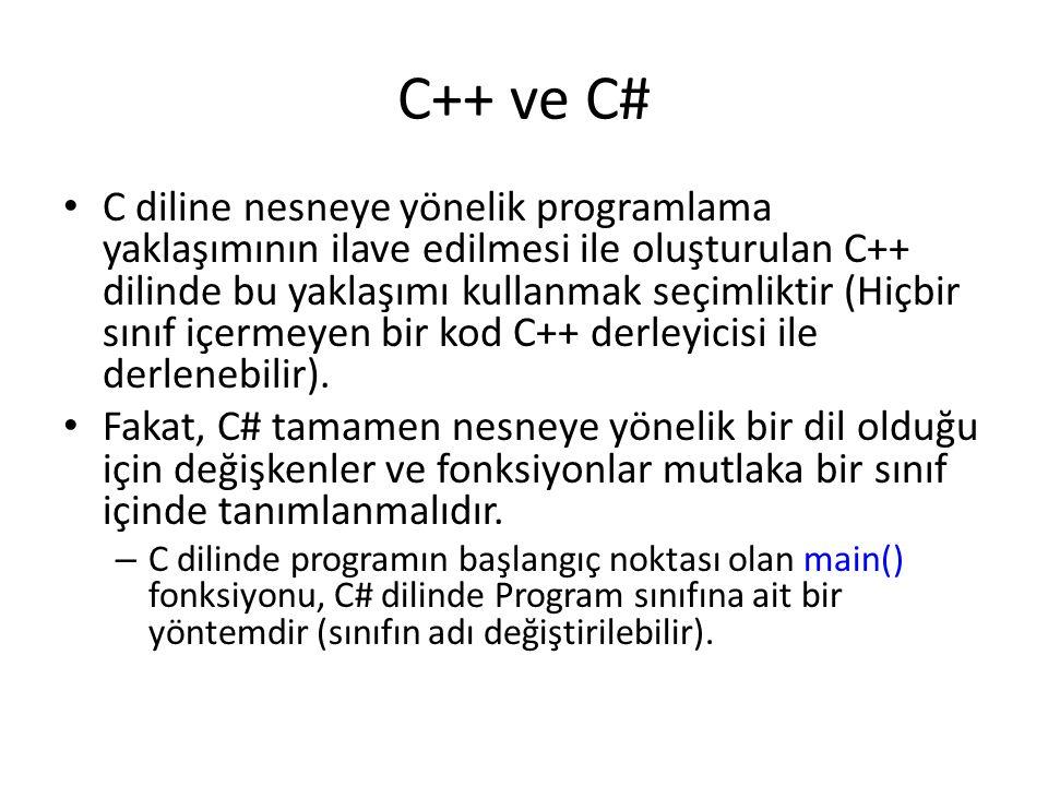 C++ ve C#