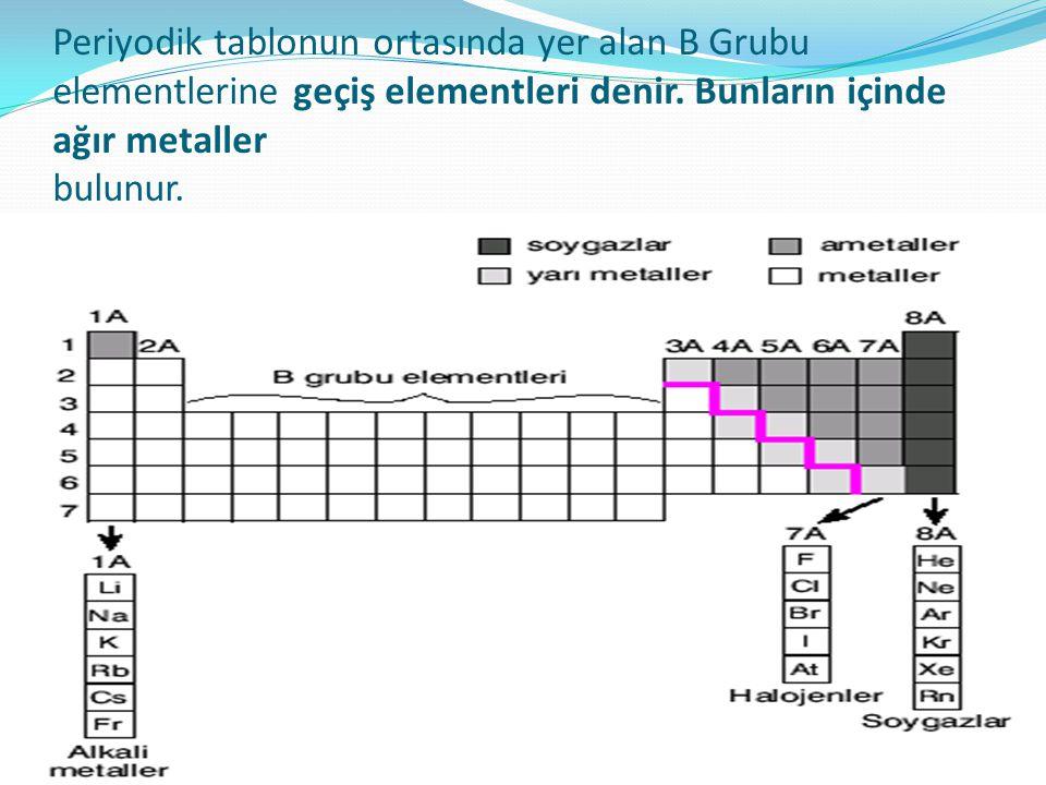 Periyodik tablonun ortasında yer alan B Grubu elementlerine geçiş elementleri denir.