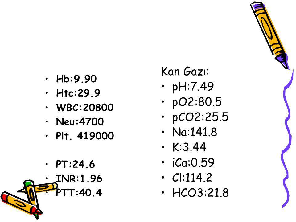 Kan Gazı: pH:7.49 pO2:80.5 pCO2:25.5 Na:141.8 K:3.44 iCa:0.59 Cl:114.2
