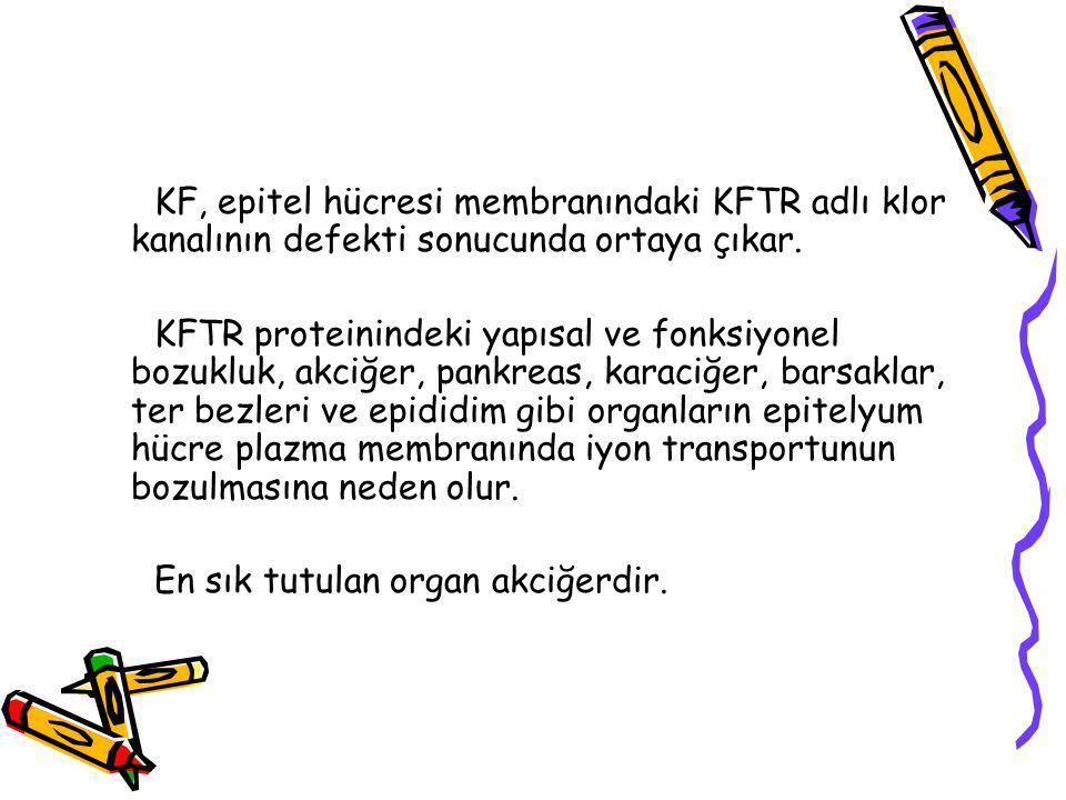 KF, epitel hücresi membranındaki KFTR adlı klor kanalının defekti sonucunda ortaya çıkar.