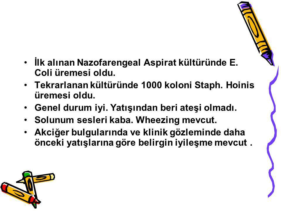 İlk alınan Nazofarengeal Aspirat kültüründe E. Coli üremesi oldu.