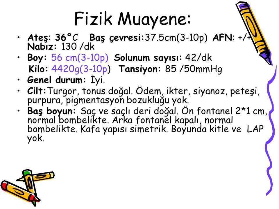Fizik Muayene: Ateş: 36°C Baş çevresi:37.5cm(3-10p) AFN: +/+ Nabız: 130 /dk. Boy: 56 cm(3-10p) Solunum sayısı: 42/dk.