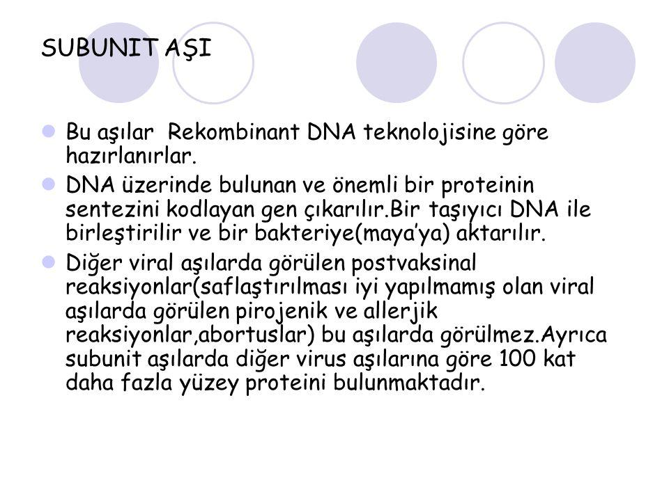 SUBUNIT AŞI Bu aşılar Rekombinant DNA teknolojisine göre hazırlanırlar.