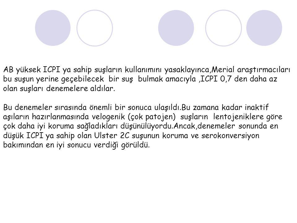 AB yüksek ICPI ya sahip suşların kullanımını yasaklayınca,Merial araştırmacıları bu suşun yerine geçebilecek bir suş bulmak amacıyla ,ICPI 0,7 den daha az olan suşları denemelere aldılar.