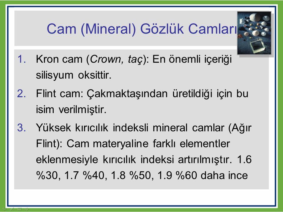Cam (Mineral) Gözlük Camları