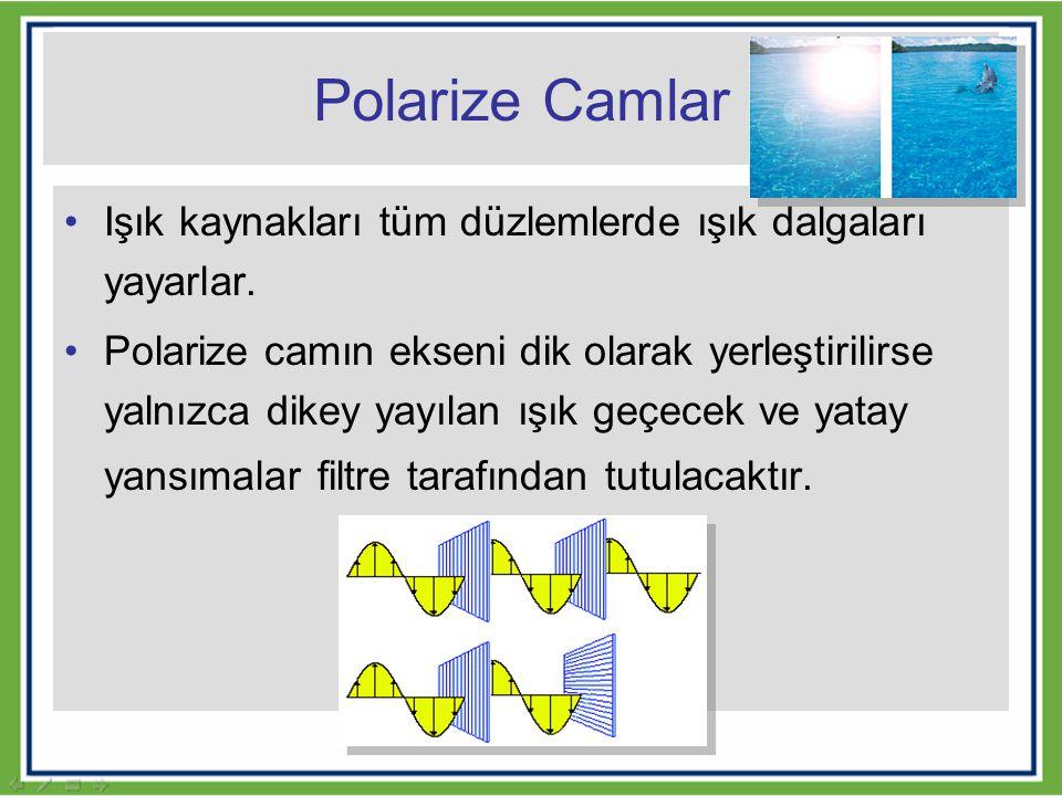 Polarize Camlar Işık kaynakları tüm düzlemlerde ışık dalgaları yayarlar.