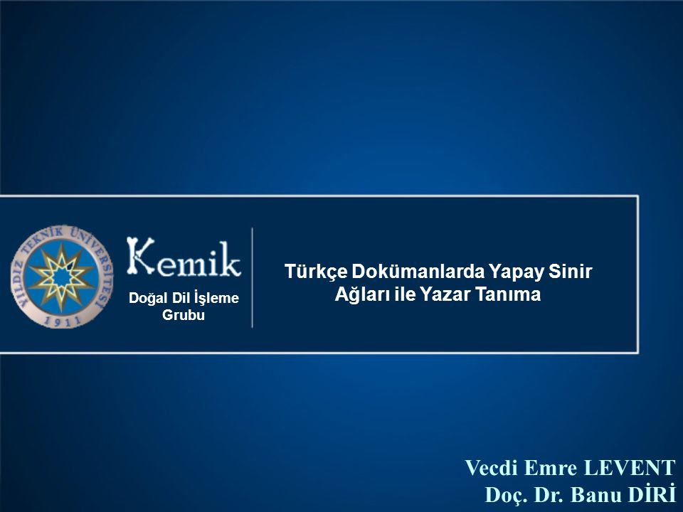 Türkçe Dokümanlarda Yapay Sinir Ağları ile Yazar Tanıma