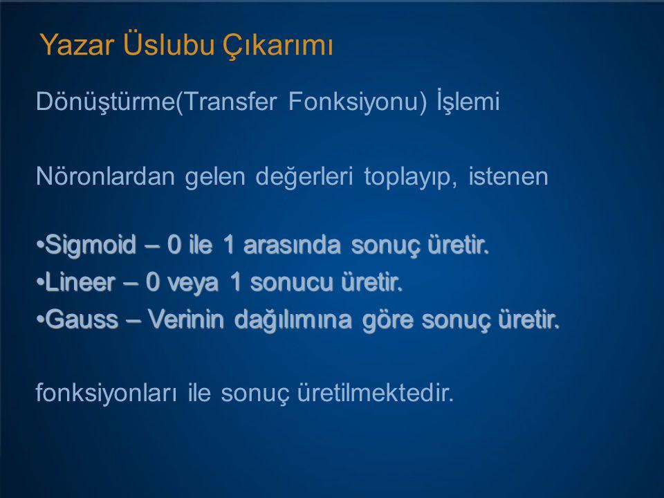 Yazar Üslubu Çıkarımı Dönüştürme(Transfer Fonksiyonu) İşlemi