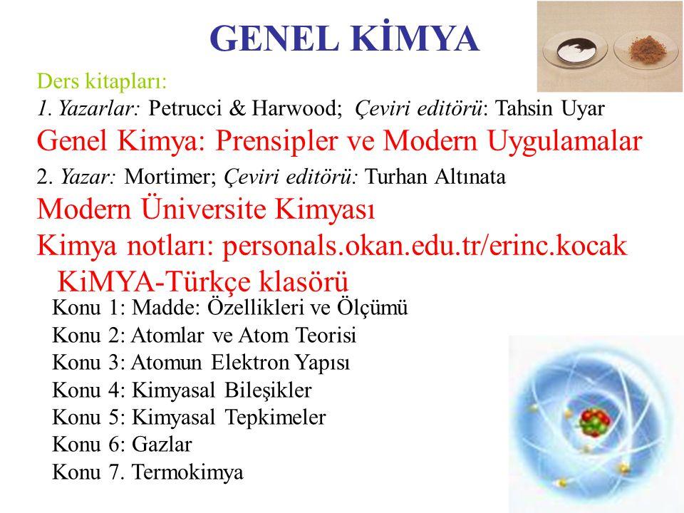 GENEL KİMYA Genel Kimya: Prensipler ve Modern Uygulamalar