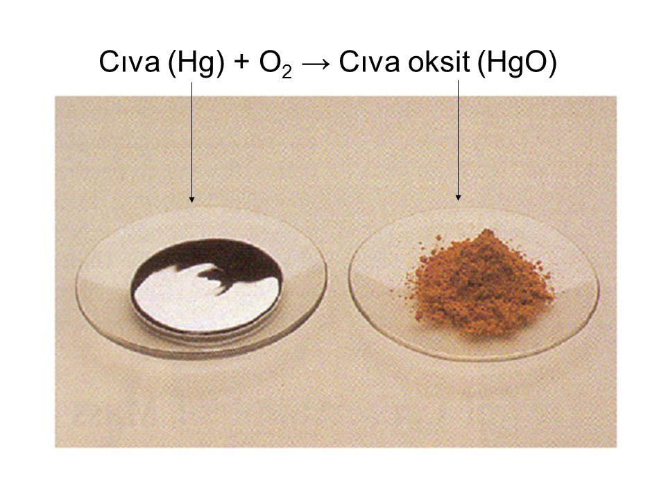 Cıva (Hg) + O2 → Cıva oksit (HgO)
