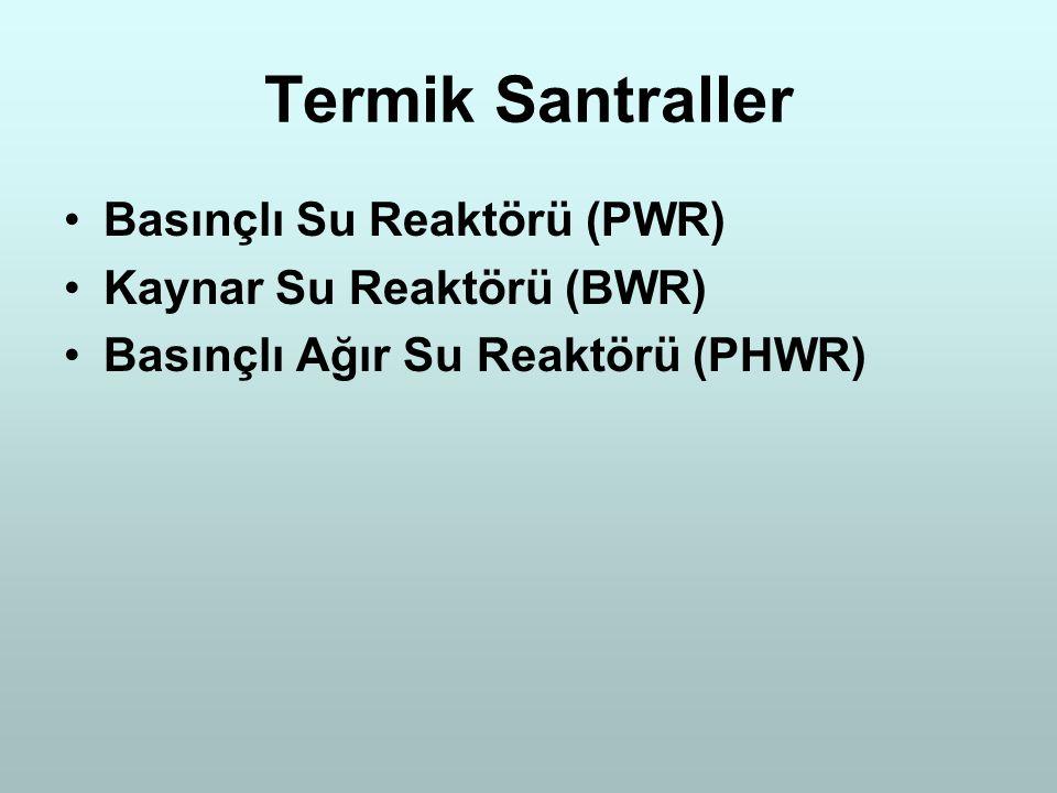 Termik Santraller Basınçlı Su Reaktörü (PWR) Kaynar Su Reaktörü (BWR)