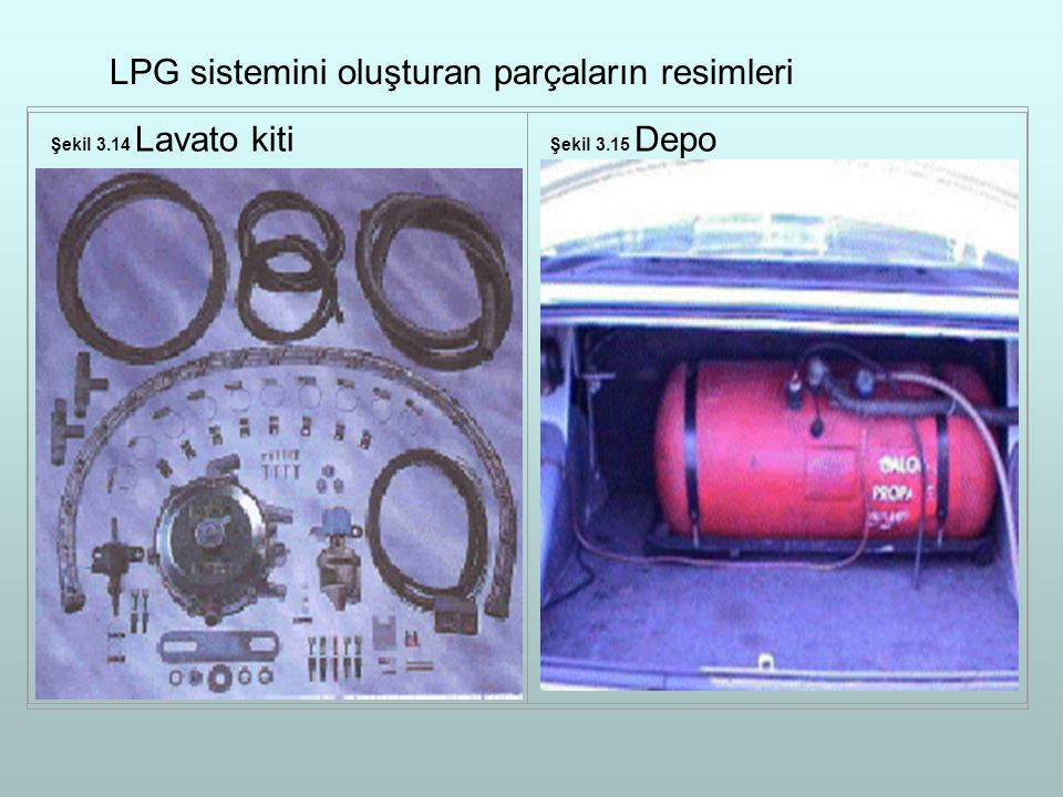 LPG sistemini oluşturan parçaların resimleri
