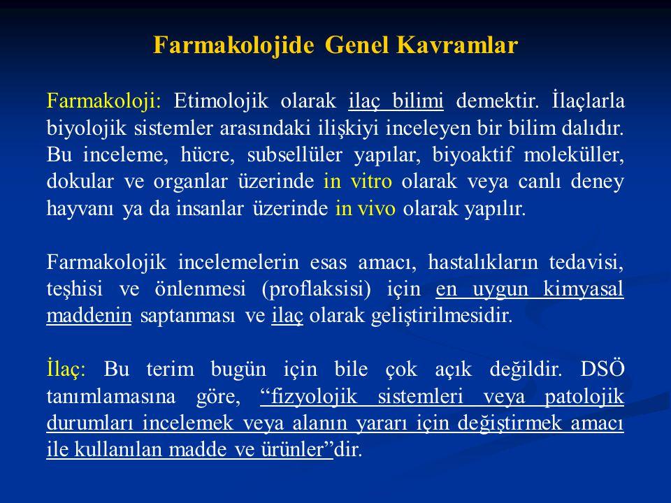 Farmakolojide Genel Kavramlar