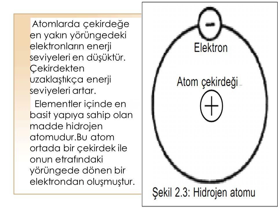 Atomlarda çekirdeğe en yakın yörüngedeki elektronların enerji seviyeleri en düşüktür. Çekirdekten uzaklaştıkça enerji seviyeleri artar.