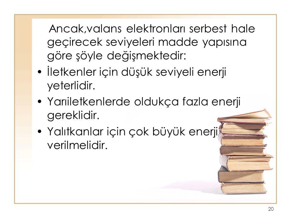 Ancak,valans elektronları serbest hale geçirecek seviyeleri madde yapısına göre şöyle değişmektedir: