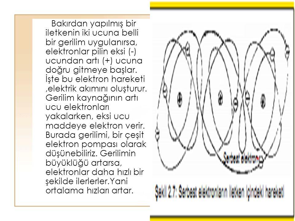 Bakırdan yapılmış bir iletkenin iki ucuna belli bir gerilim uygulanırsa, elektronlar pilin eksi (-) ucundan artı (+) ucuna doğru gitmeye başlar.