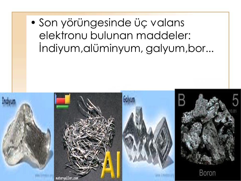 Son yörüngesinde üç valans elektronu bulunan maddeler: İndiyum,alüminyum, galyum,bor...