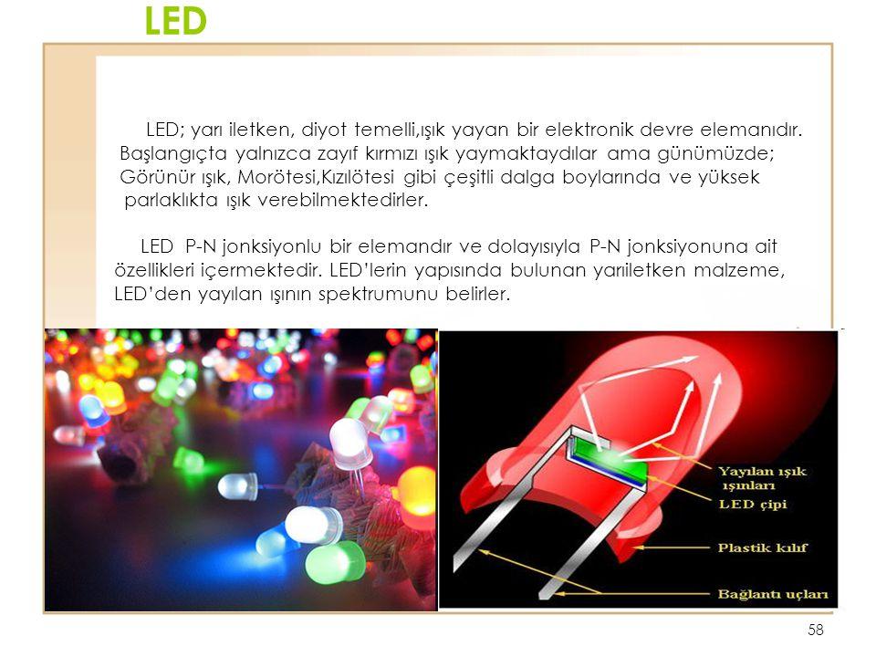 LED LED; yarı iletken, diyot temelli,ışık yayan bir elektronik devre elemanıdır.