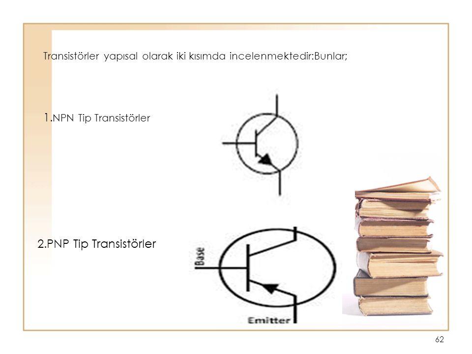Transistörler yapısal olarak iki kısımda incelenmektedir:Bunlar;