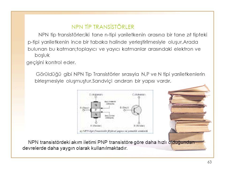 NPN TİP TRANSİSTÖRLER NPN tip transistörler;iki tane n-tipi yarıiletkenin arasına bir tane zıt tipteki.