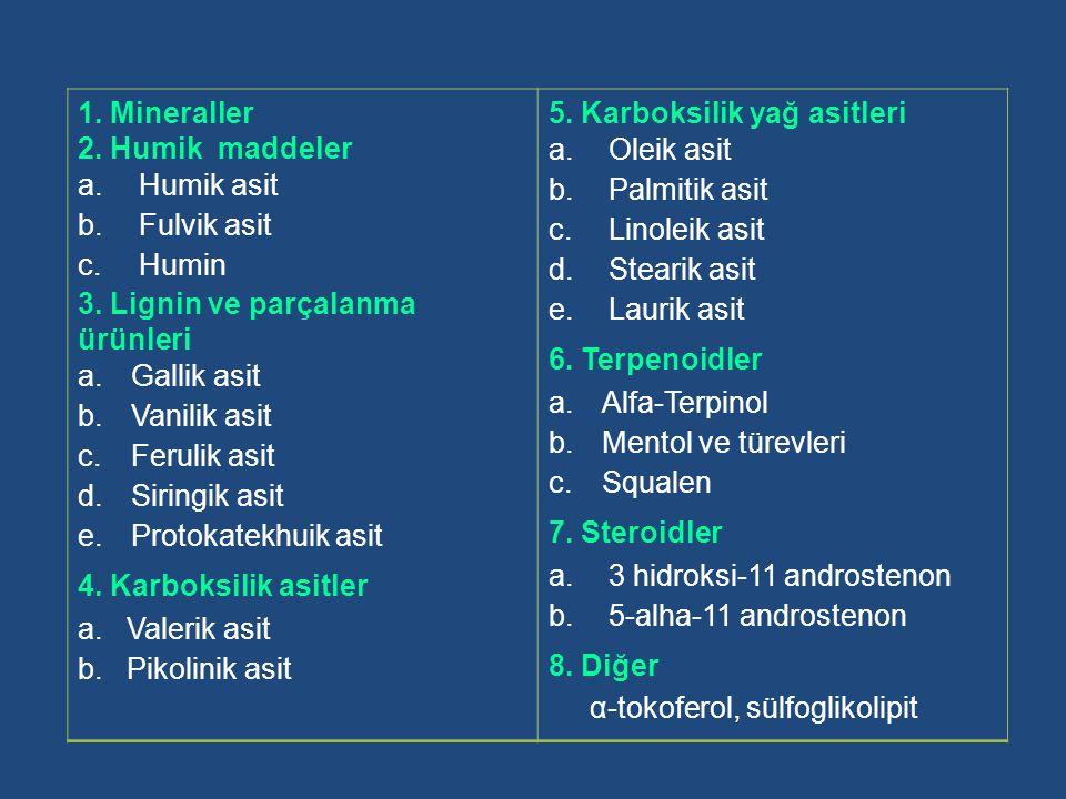 1. Mineraller 2. Humik maddeler. Humik asit. Fulvik asit. Humin. 3. Lignin ve parçalanma ürünleri.