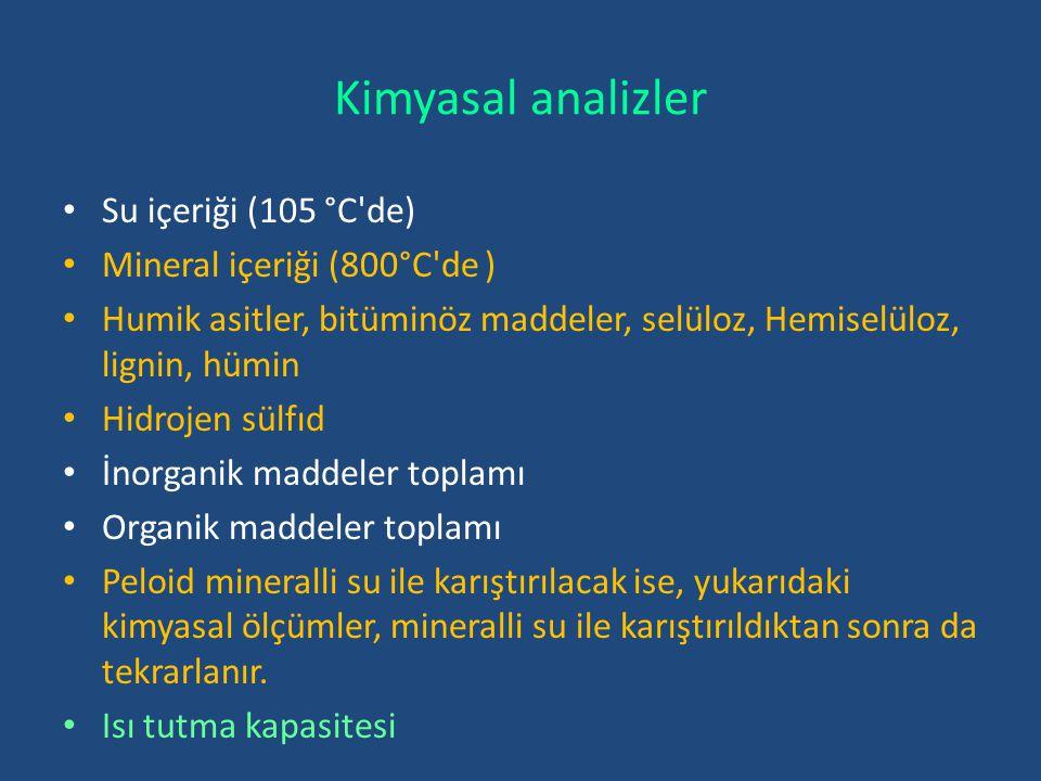 Kimyasal analizler Su içeriği (105 °C de) Mineral içeriği (800°C de )