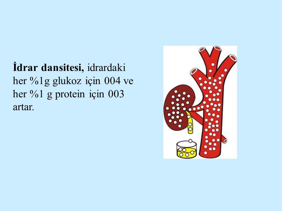 İdrar dansitesi, idrardaki her %1g glukoz için 004 ve her %1 g protein için 003 artar.