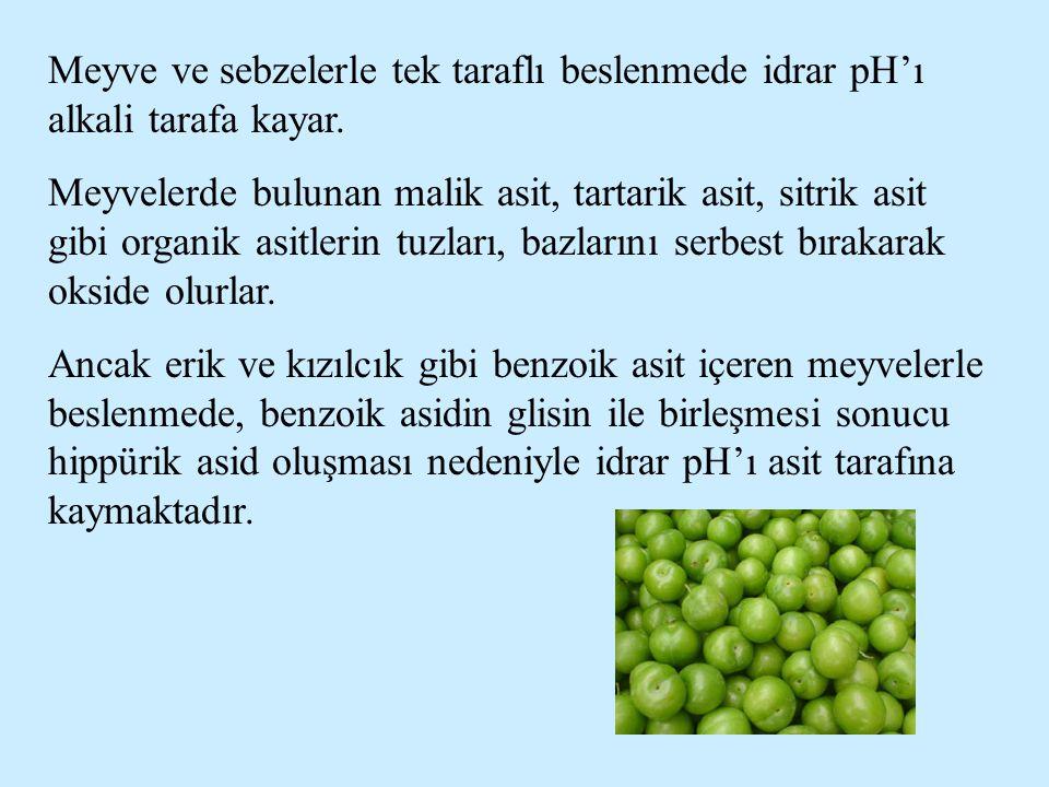 Meyve ve sebzelerle tek taraflı beslenmede idrar pH'ı alkali tarafa kayar.
