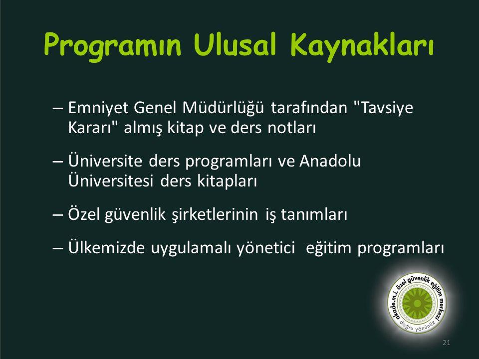 Programın Ulusal Kaynakları
