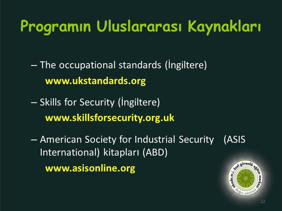 Programın Uluslararası Kaynakları