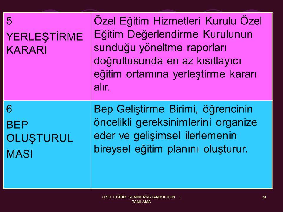 ÖZEL EĞİTİM SEMİNERİ-İSTANBUL2008 / TANILAMA