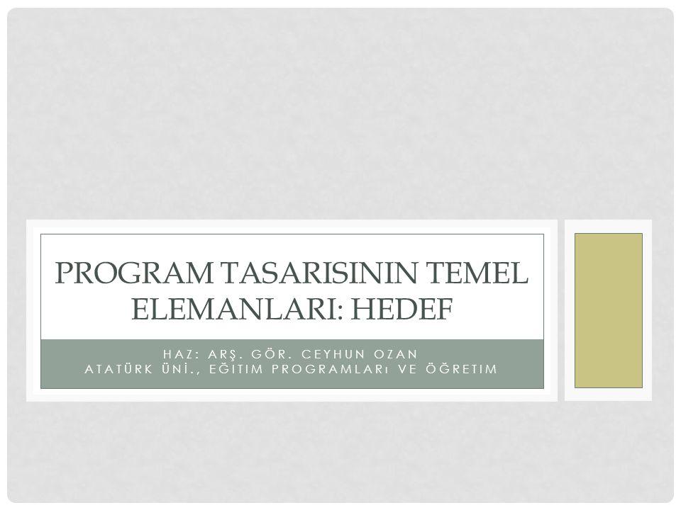 PROGRAM TASARISININ TEMEL ELEMANLARI: HEDEF