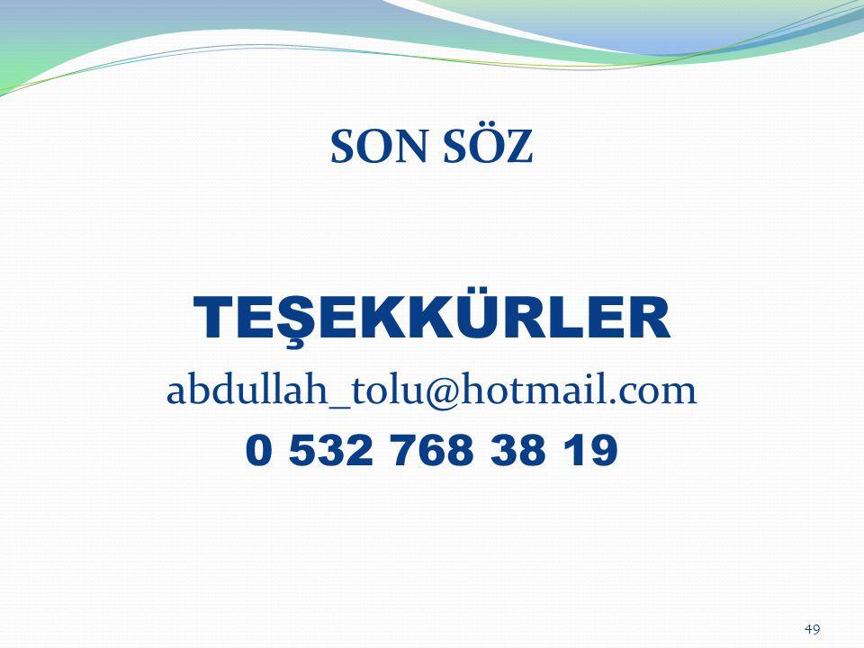 SON SÖZ TEŞEKKÜRLER abdullah_tolu@hotmail.com 0 532 768 38 19