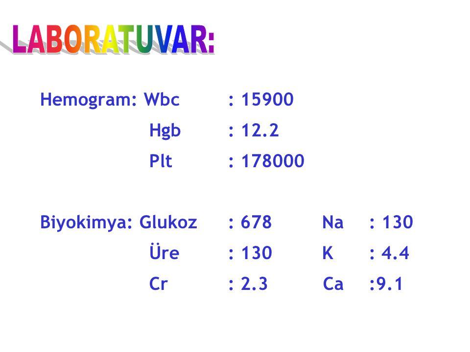 LABORATUVAR: Hemogram: Wbc : 15900 Hgb : 12.2 Plt : 178000