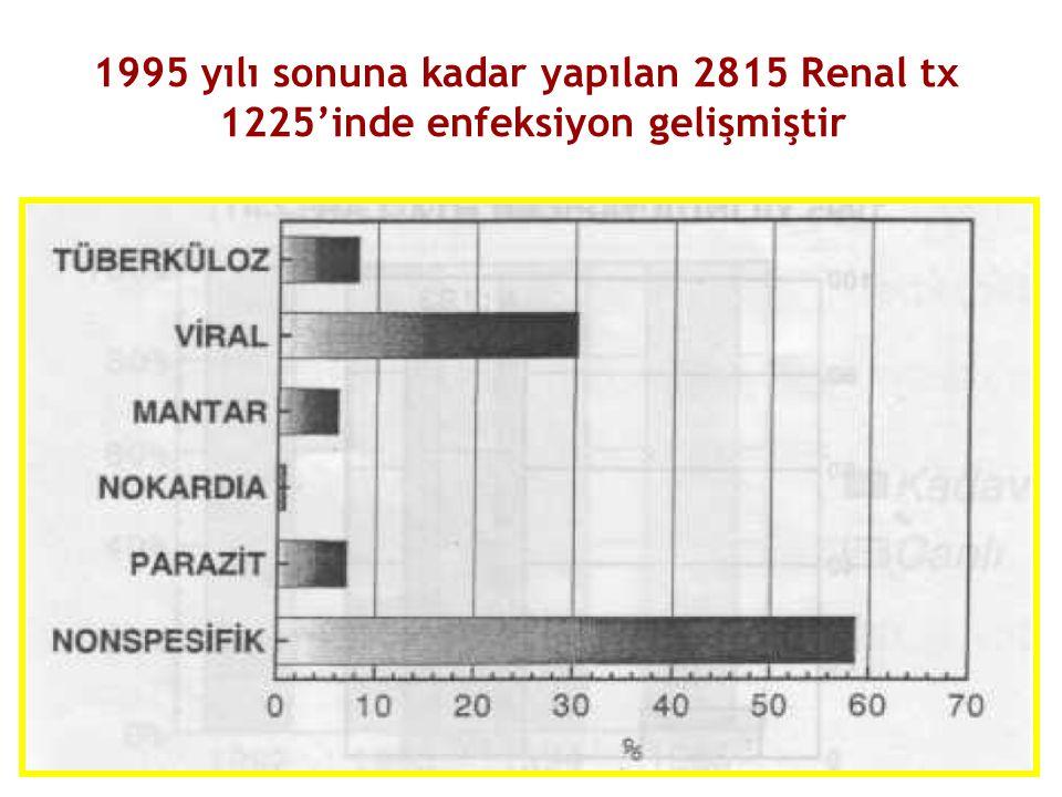 1995 yılı sonuna kadar yapılan 2815 Renal tx