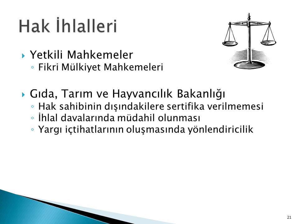 Hak İhlalleri Yetkili Mahkemeler Gıda, Tarım ve Hayvancılık Bakanlığı