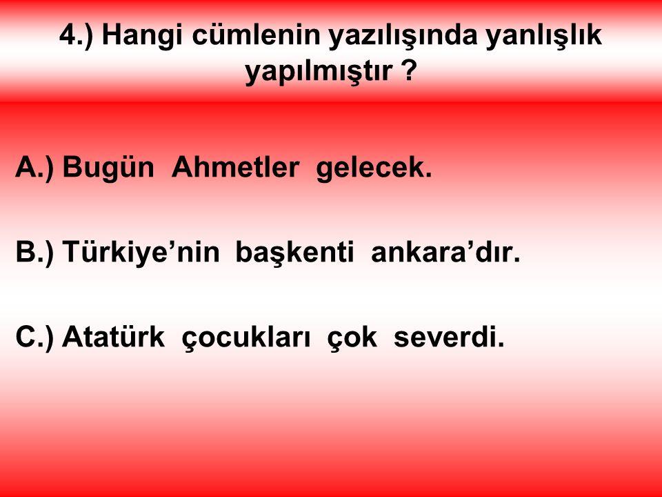 4.) Hangi cümlenin yazılışında yanlışlık yapılmıştır