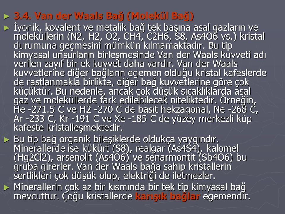 3.4. Van der Waals Bağ (Molekül Bağ)