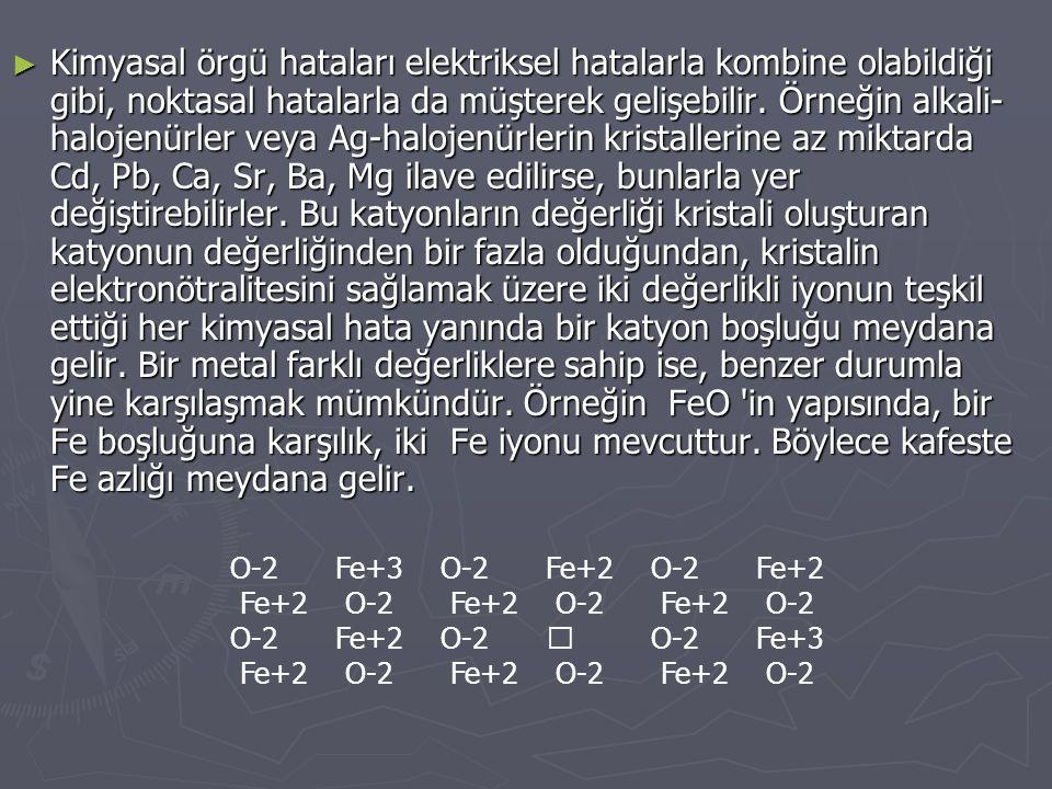 Kimyasal örgü hataları elektriksel hatalarla kombine olabildiği gibi, noktasal hatalarla da müşterek gelişebilir. Örneğin alkali-halojenürler veya Ag-halojenürlerin kristallerine az miktarda Cd, Pb, Ca, Sr, Ba, Mg ilave edilirse, bunlarla yer değiştirebilirler. Bu katyonların değerliği kristali oluşturan katyonun değerliğinden bir fazla olduğundan, kristalin elektronötralitesini sağlamak üzere iki değerlikli iyonun teşkil ettiği her kimyasal hata yanında bir katyon boşluğu meydana gelir. Bir metal farklı değerliklere sahip ise, benzer durumla yine karşılaşmak mümkündür. Örneğin FeO in yapısında, bir Fe boşluğuna karşılık, iki Fe iyonu mevcuttur. Böylece kafeste Fe azlığı meydana gelir.