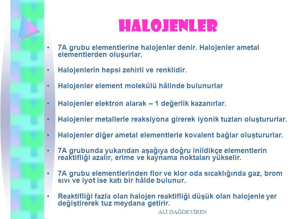 halojenler 7A grubu elementlerine halojenler denir. Halojenler ametal elementlerden oluşurlar. Halojenlerin hepsi zehirli ve renklidir.