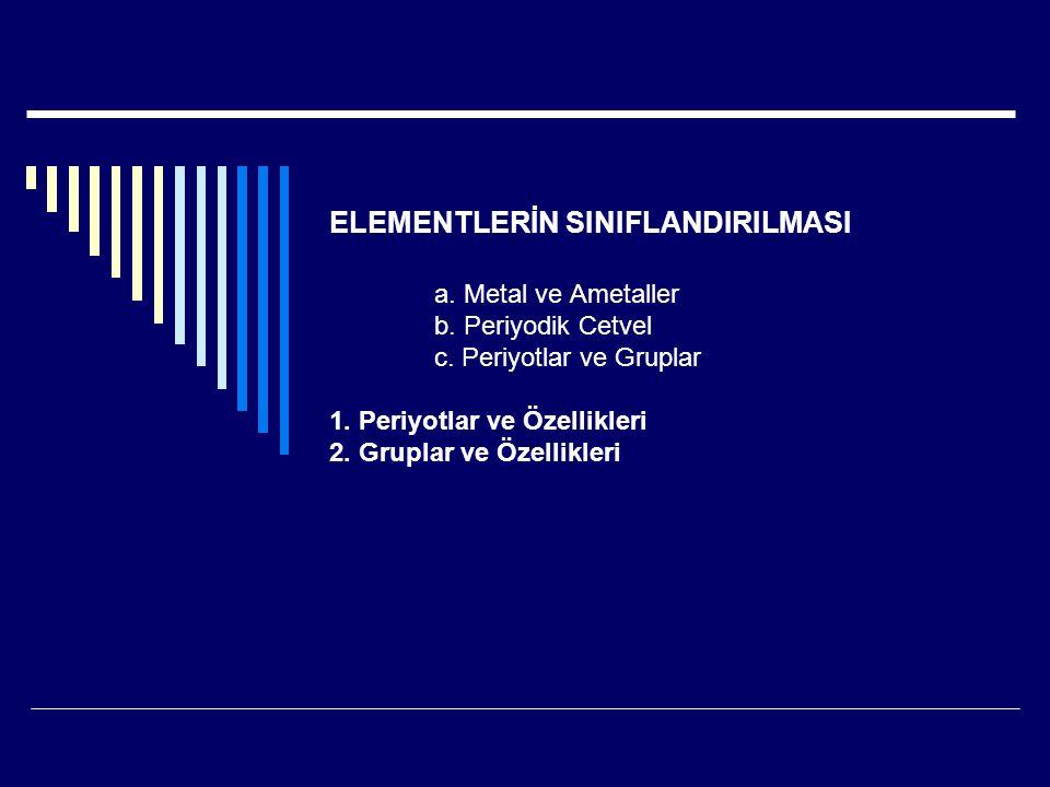 ELEMENTLERİN SINIFLANDIRILMASI. a. Metal ve Ametaller. b