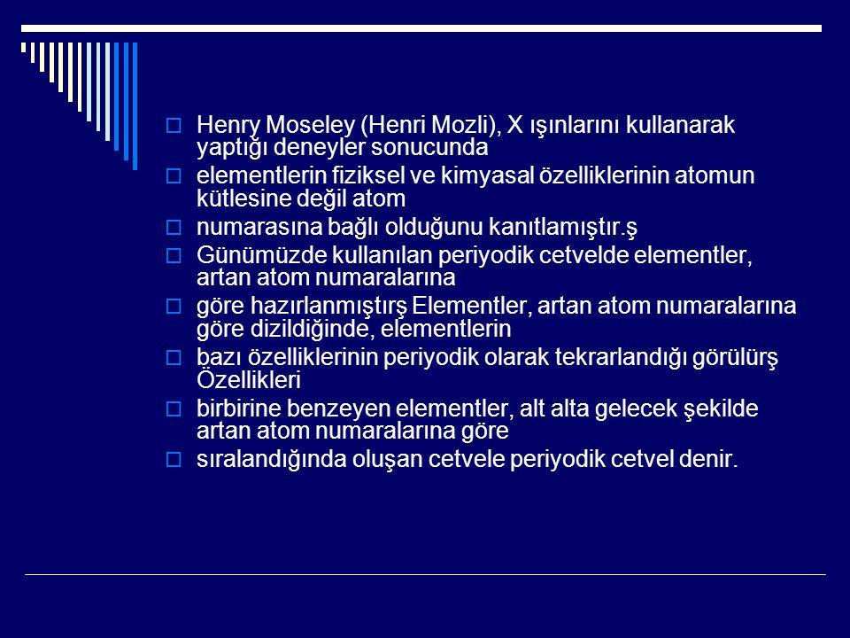 Henry Moseley (Henri Mozli), X ışınlarını kullanarak yaptığı deneyler sonucunda