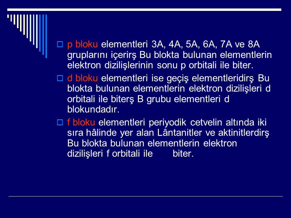 p bloku elementleri 3A, 4A, 5A, 6A, 7A ve 8A gruplarını içerirş Bu blokta bulunan elementlerin elektron dizilişlerinin sonu p orbitali ile biter.
